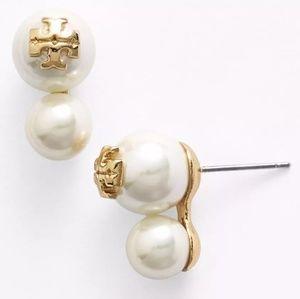 Tory Burch White Evie Logo Double Pearl Earrings